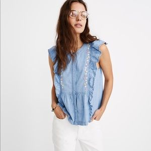 NWT Madewell Floral Embroidered Ruffle Top
